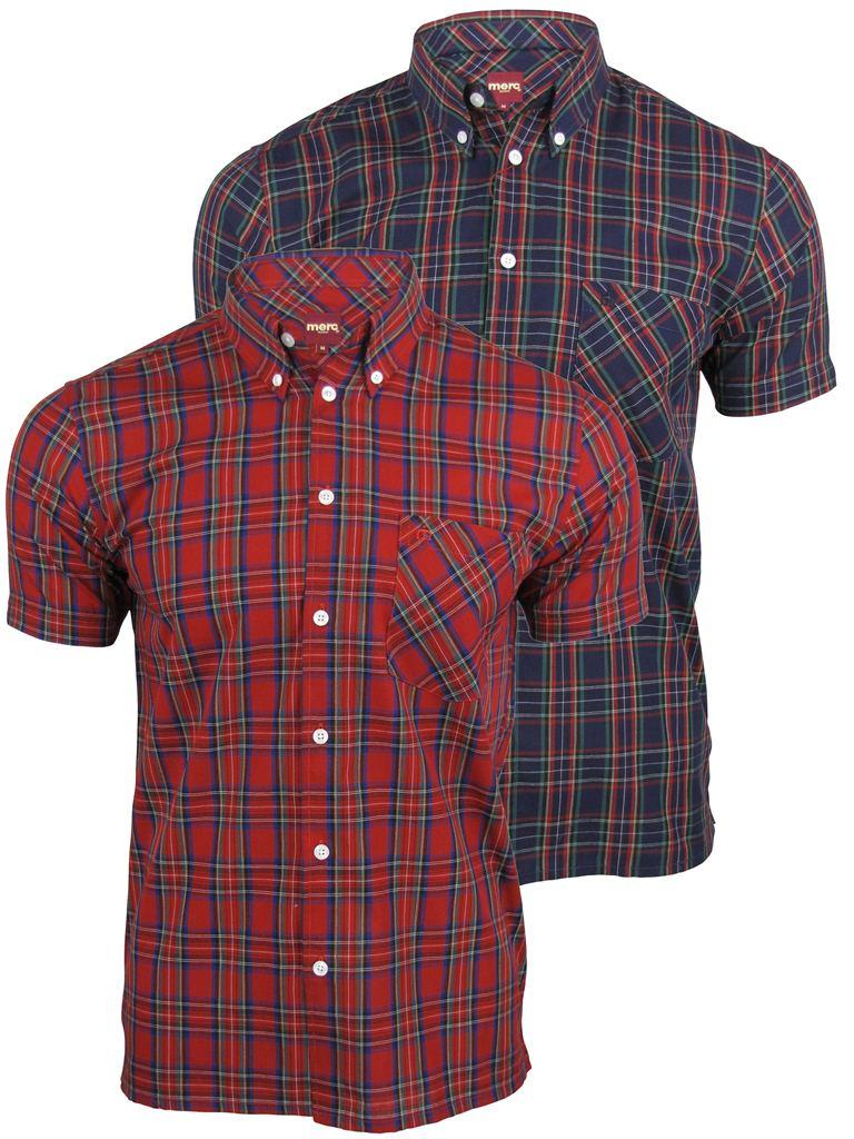 Mens Merc London /'Mack/' Shirt Short Sleeved Mod Retro Button Down Collar