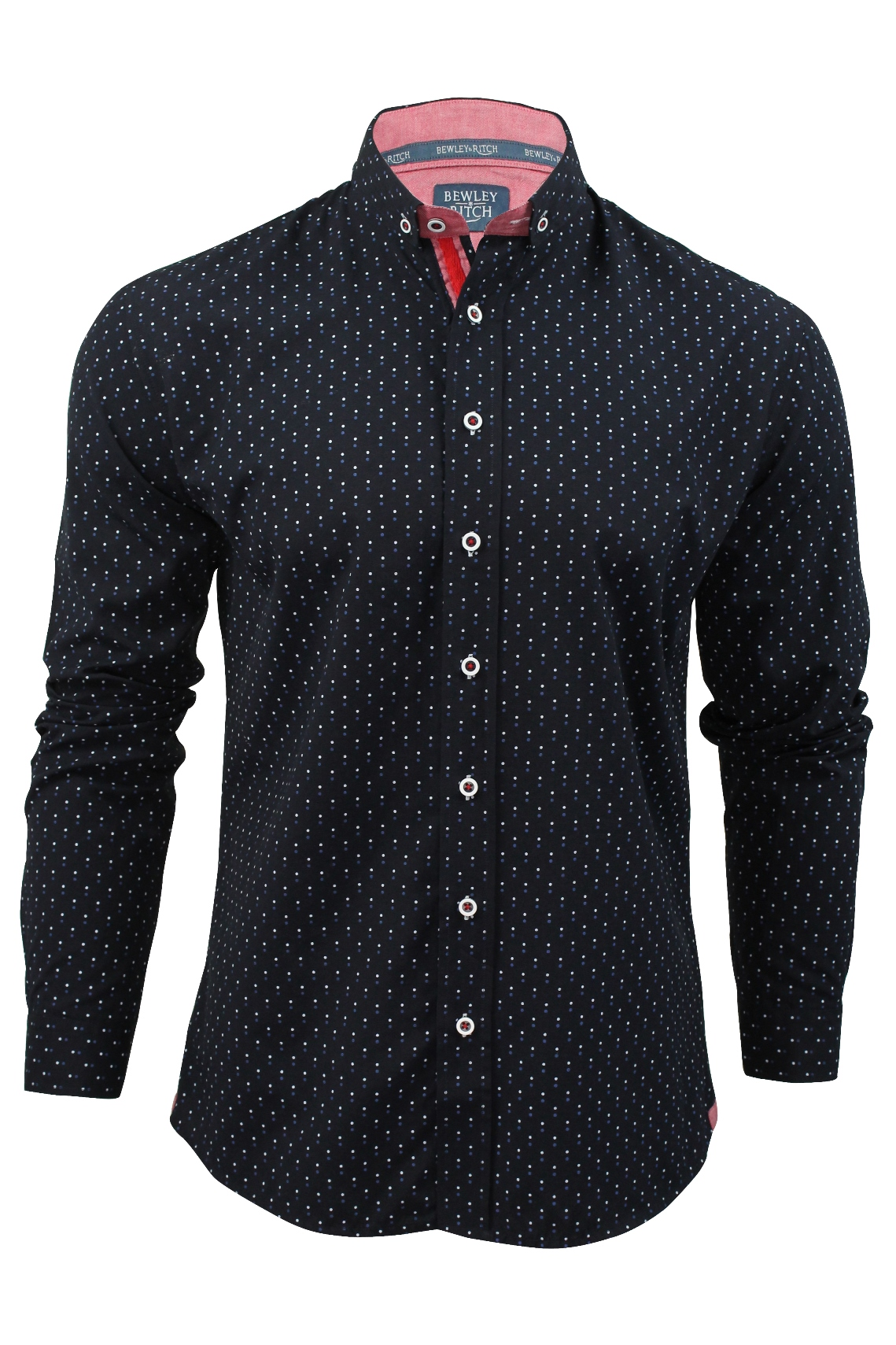 Mens shirt by bewley ritch 39 merick 39 polka dot long for Mens polka dot shirt short sleeve