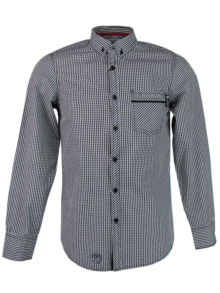 Mens shirt by dissident gingham check long sleeve button for Mens long sleeve button down shirts