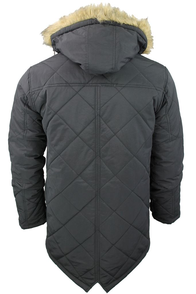 Mens Brave Soul Quilted Padded Parka Jacket/ Coat 'Cheltenham' Hoddie/ Hooded