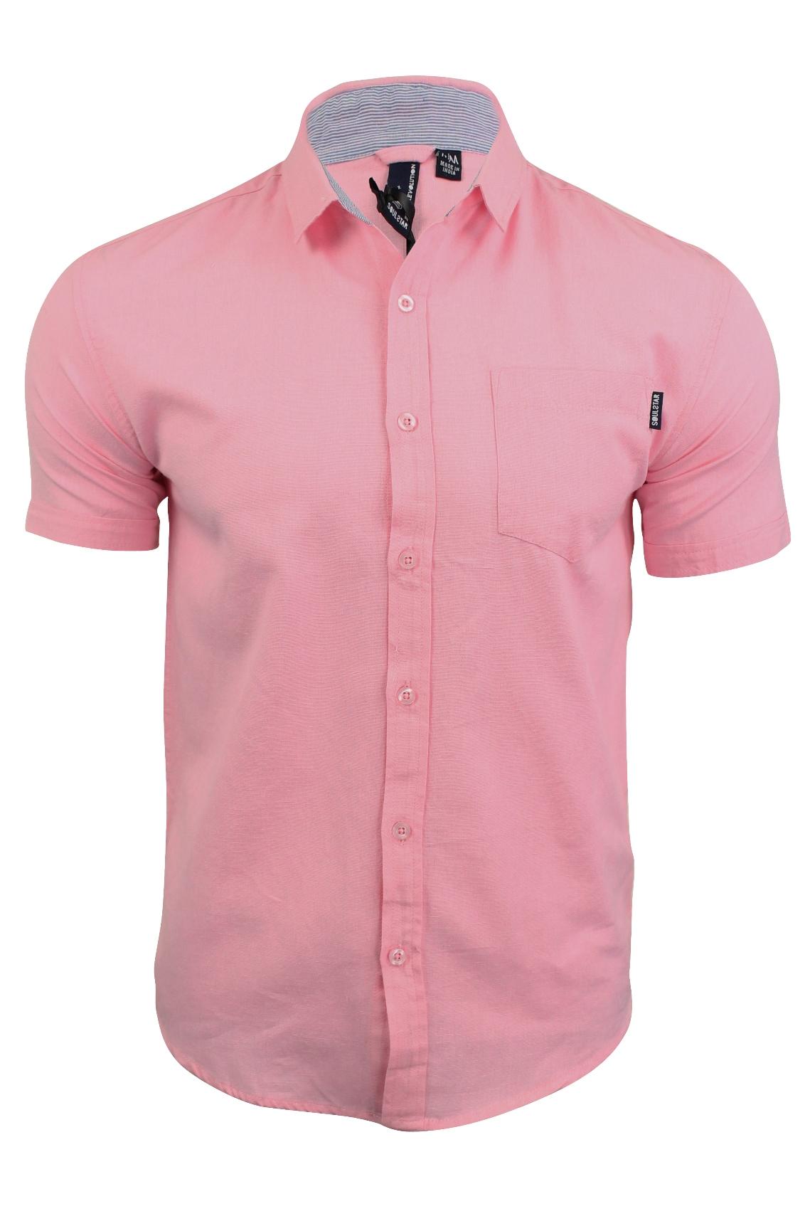 Mens linen shirt by soul star 39 cotlin 39 short sleeved for Mens short sleeve linen dress shirts