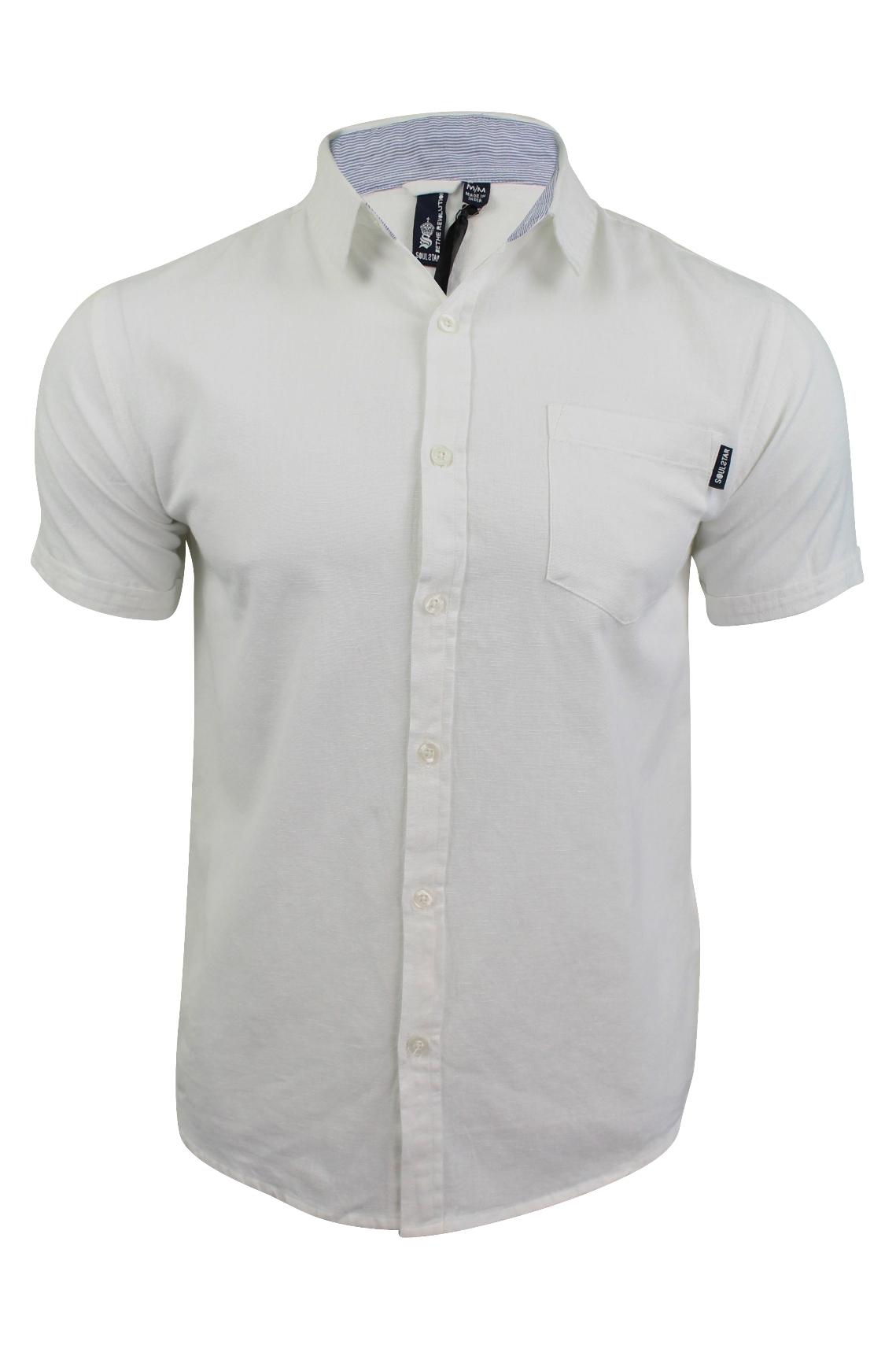 Mens linen shirt by soul star 39 cotlin 39 short sleeved ebay for Short sleeve linen shirt