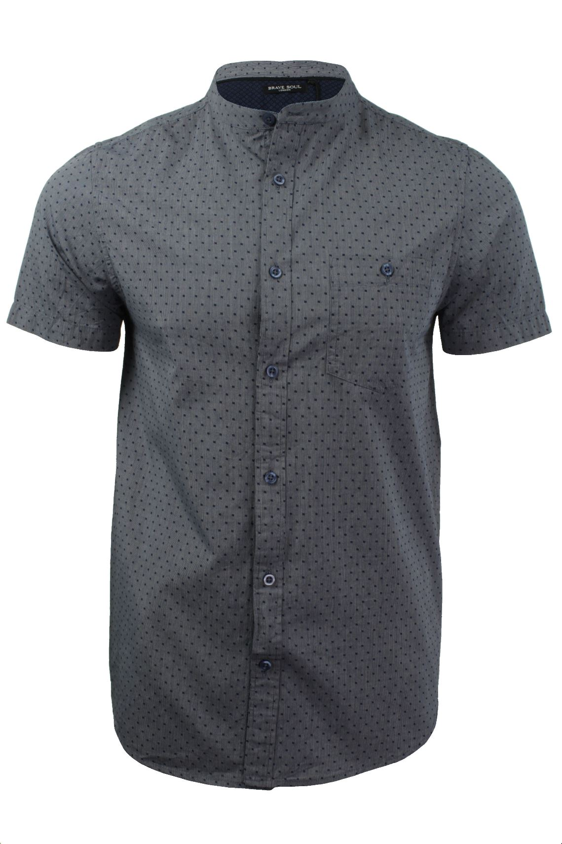 Mens grandad shirt by brave soul short sleeved ebay for Short sleeve grandad shirt