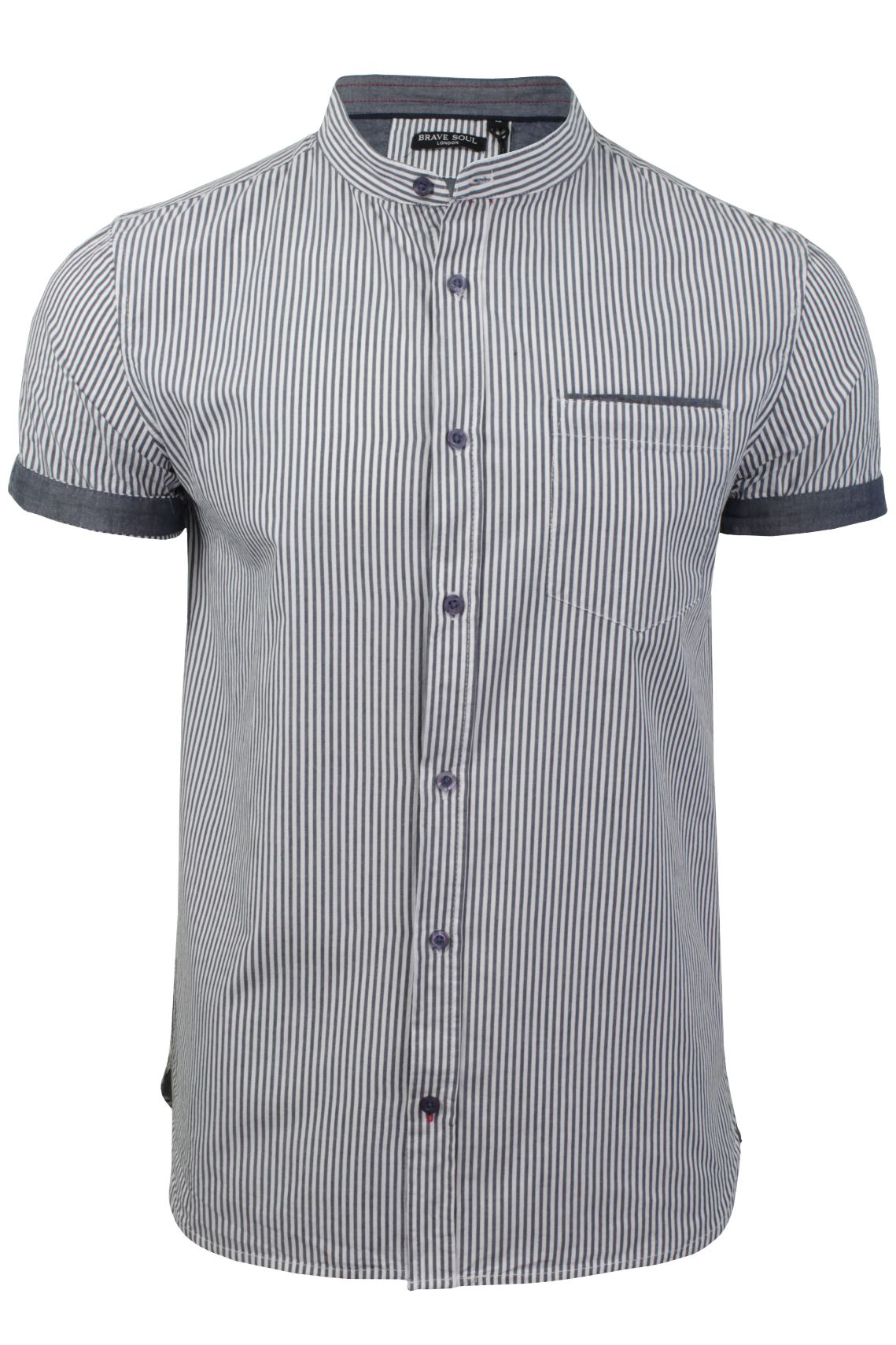 Mens short sleeved striped grandad collar shirt by brave for Short sleeve grandad shirt