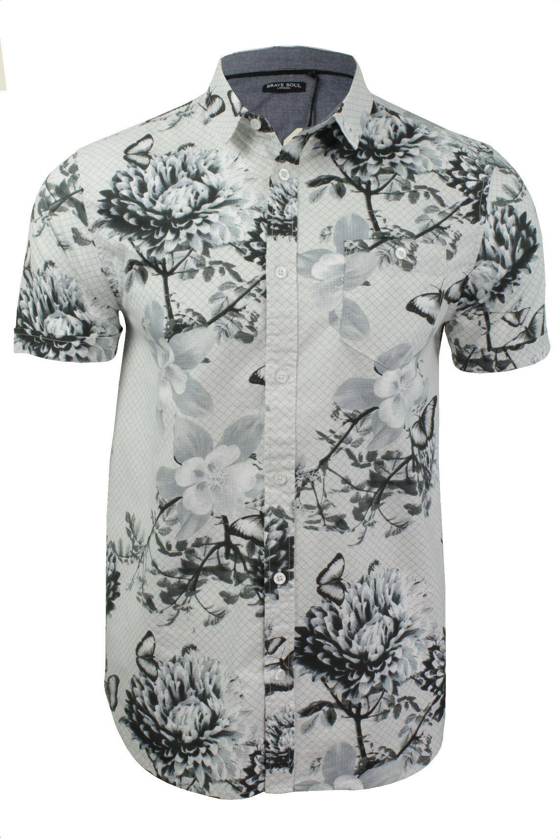 Mens hawaiian floral shirt by brave soul short sleeved ebay for Mens short sleeve floral shirt