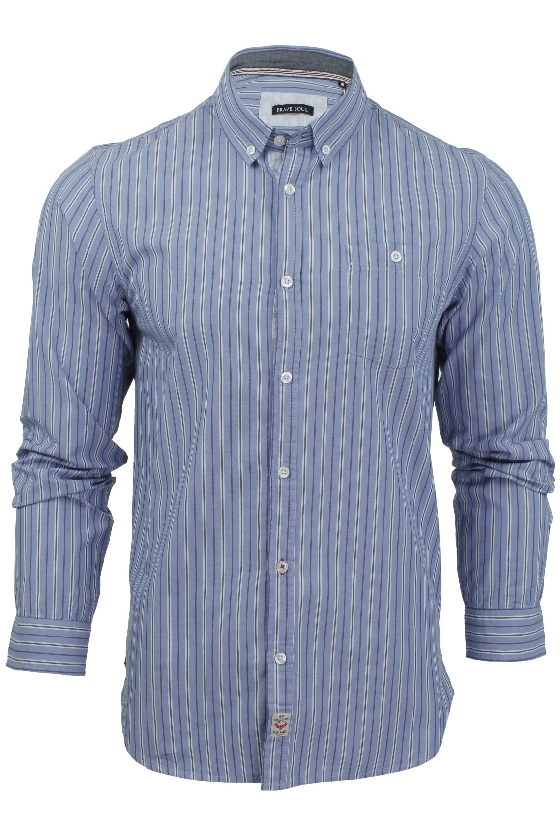 Mens Long Sleeved Shirt By Brave Soul Striped With
