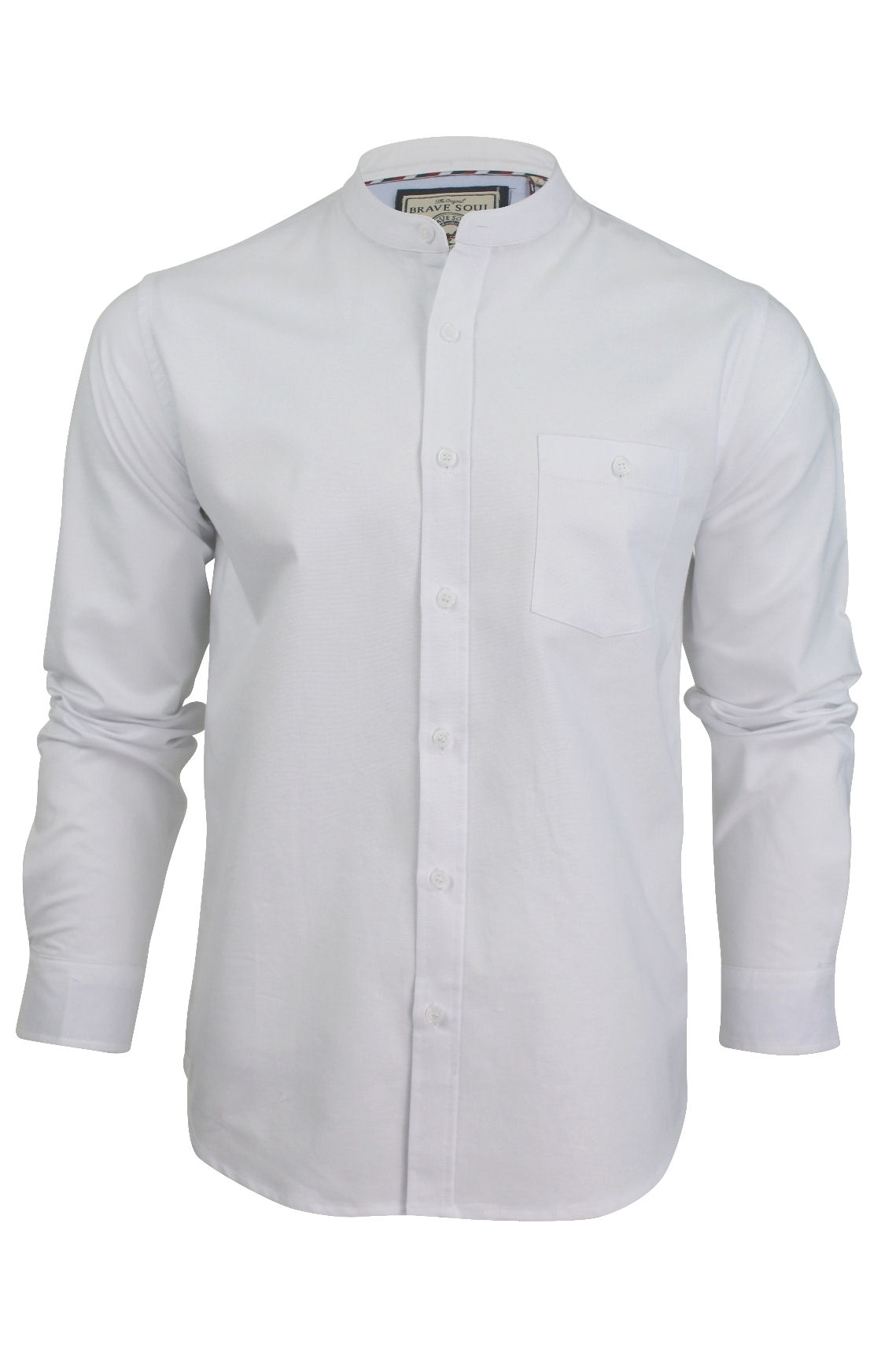 Mens grandad collar oxford shirt by brave soul 39 augustus Mens grandad collar shirt