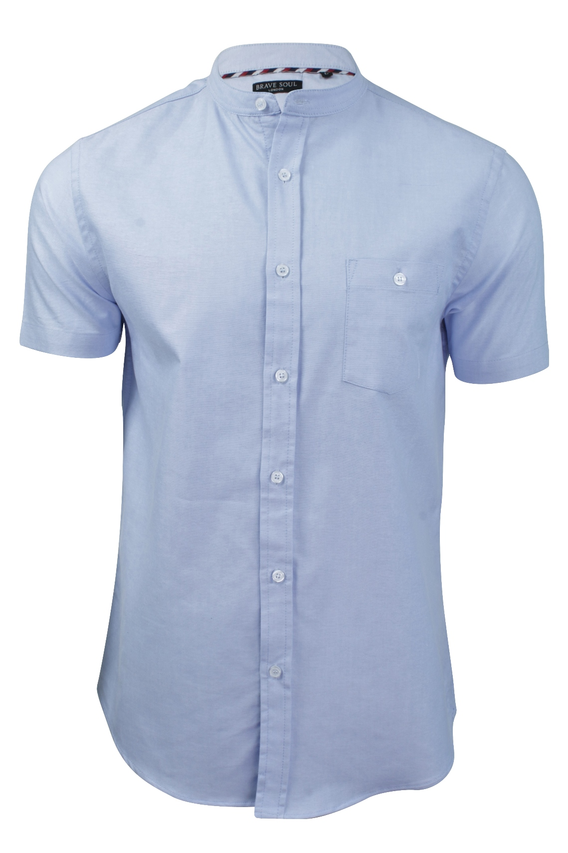 Mens grandad collar shirt by brave soul 39 tribune 39 short for Short sleeve grandad shirt