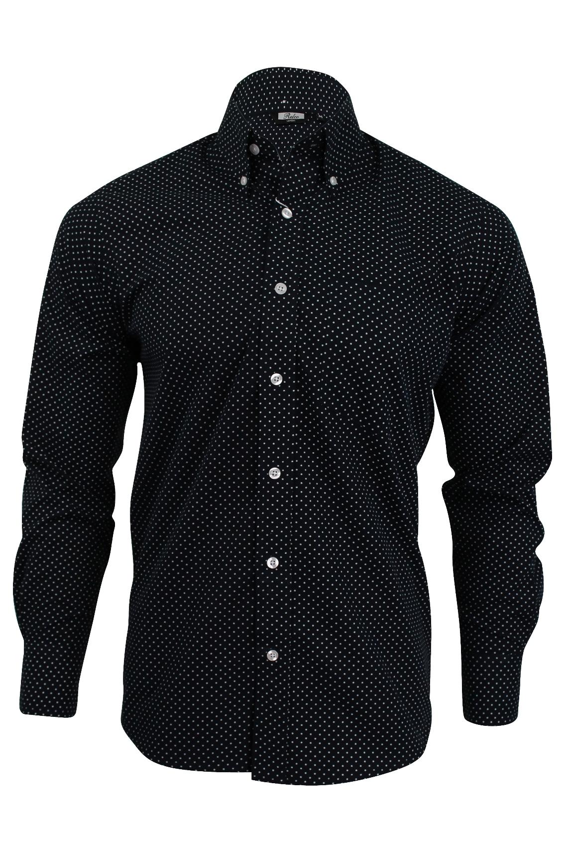 Mens shirt relco mod retro mini polka dot long sleeved for Button down polka dot shirt