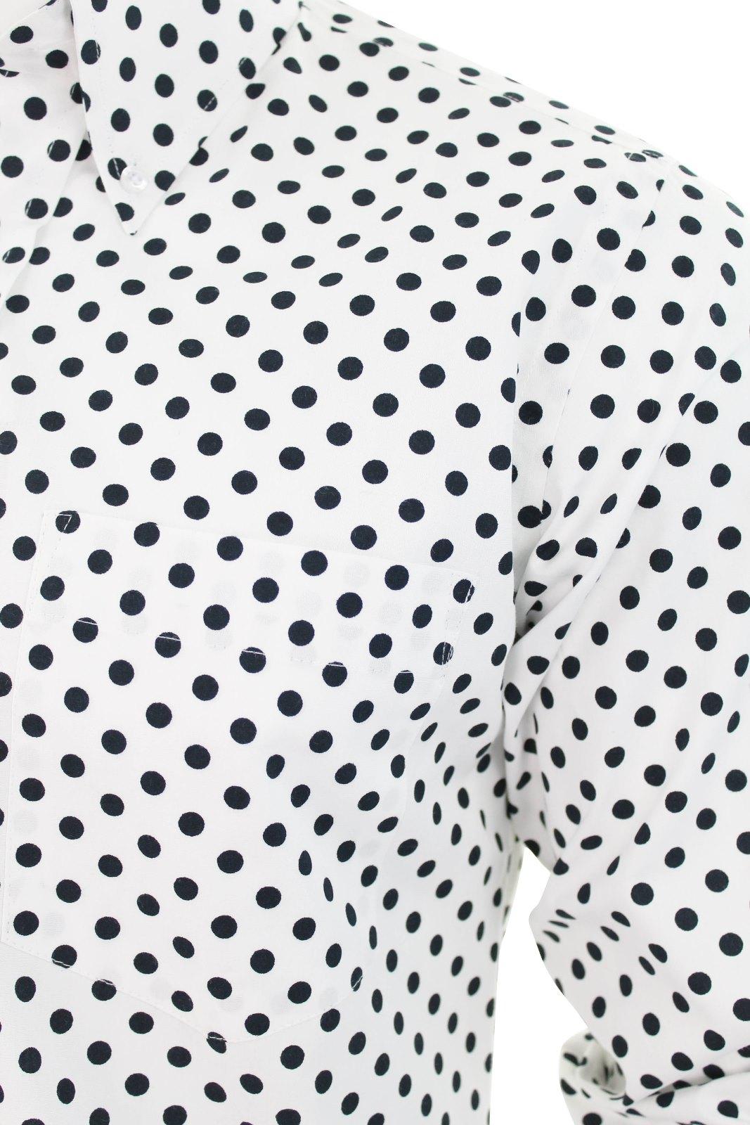 Mens Retro shirt by Relco Polka Dot Button Down Long Sleeve ...