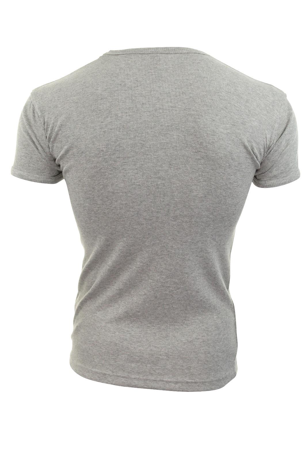 Mens Rib T-Shirt Ribbed Crew /& Vee Neck Soul Star Plain Slim Fit Jersey