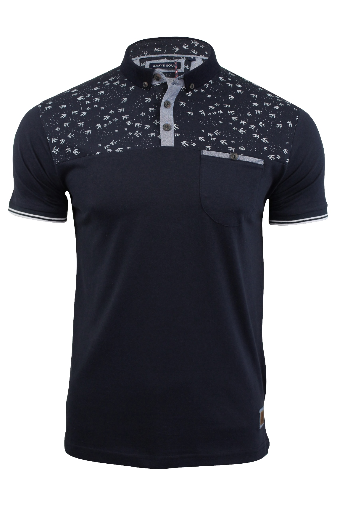 Mens polo shirt by brave soul 39 siward 39 with bird print ebay for Polo shirts for printing