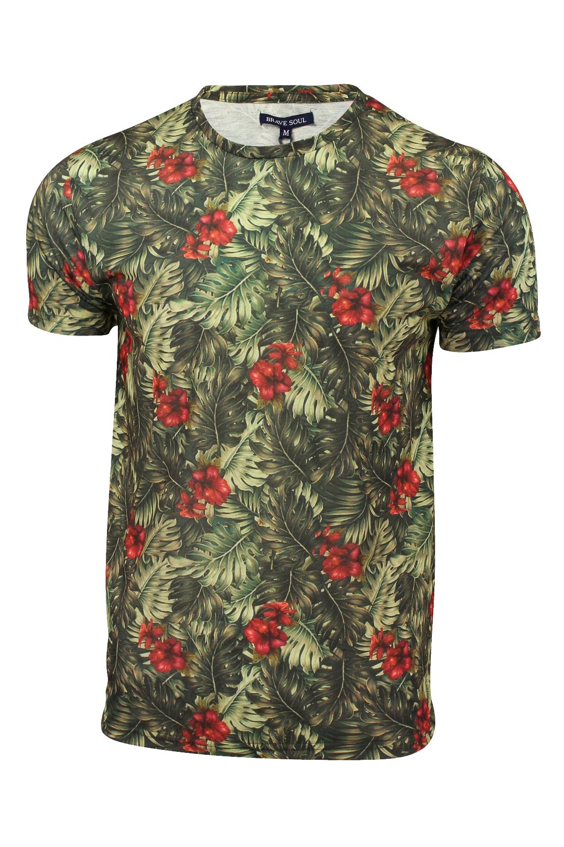 Mens T Shirt Hawaiian Print By Brave Soul 39 Palm 39 Short