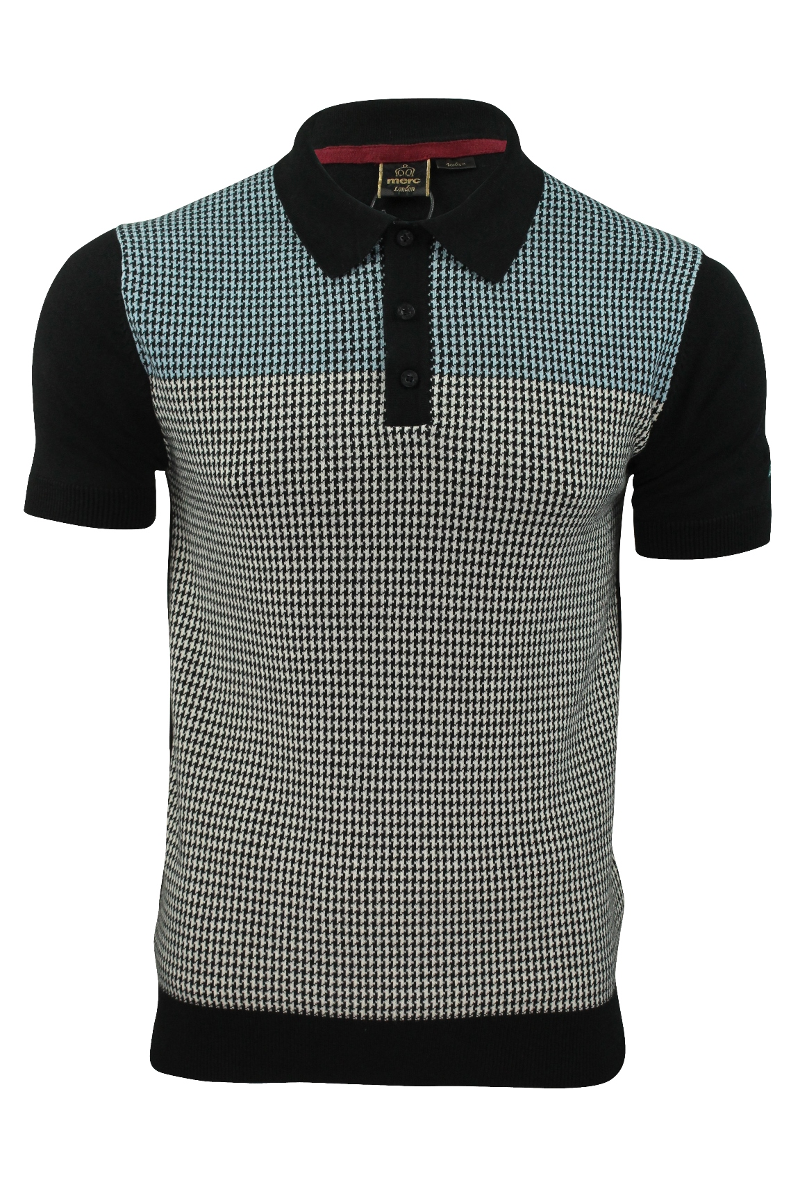 Mens knit polo shirt by merc 39 parish 39 dog tooth check ebay for Knitted polo shirt mens