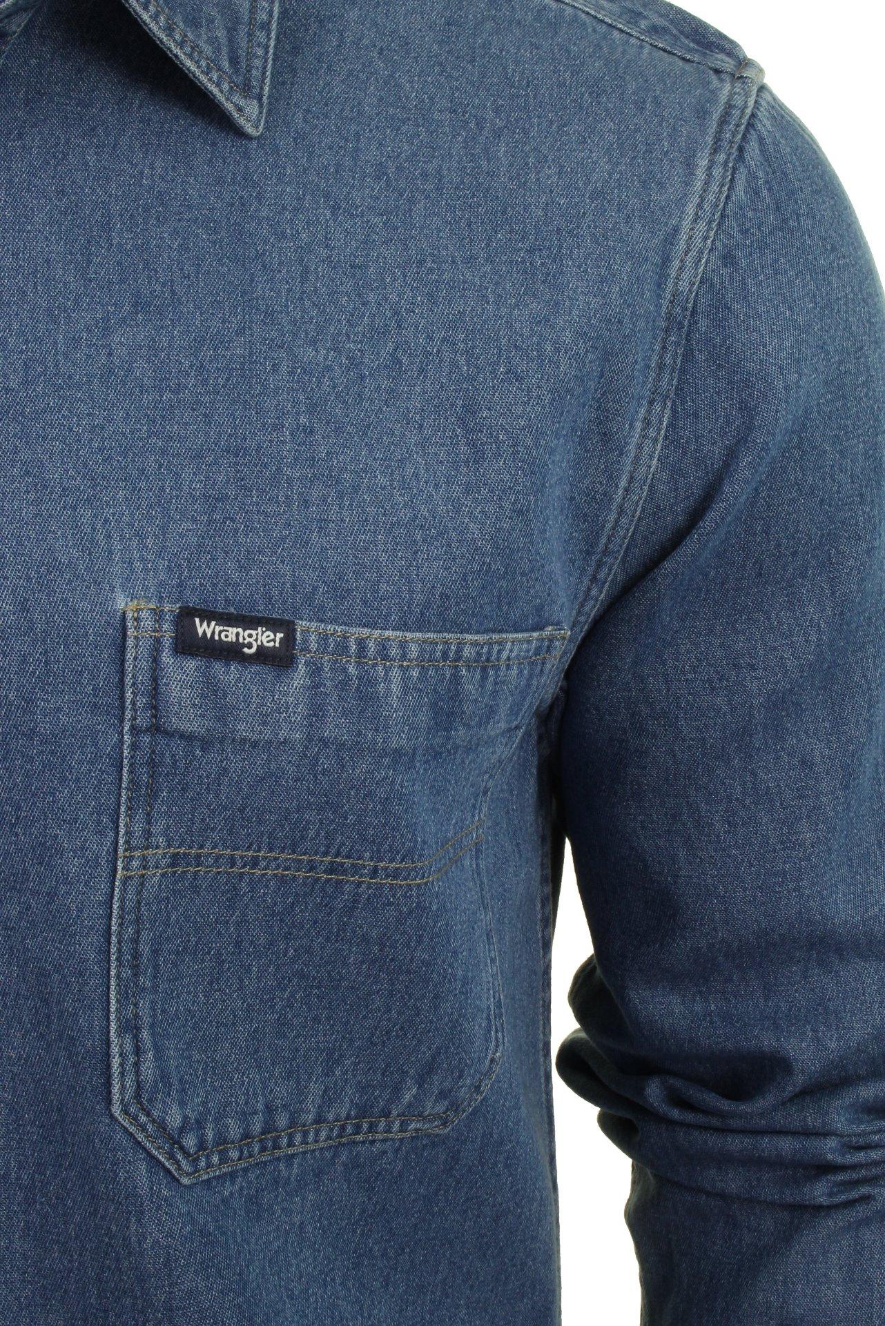 Mens Wrangler Utility Long Sleeved Denim Shirt