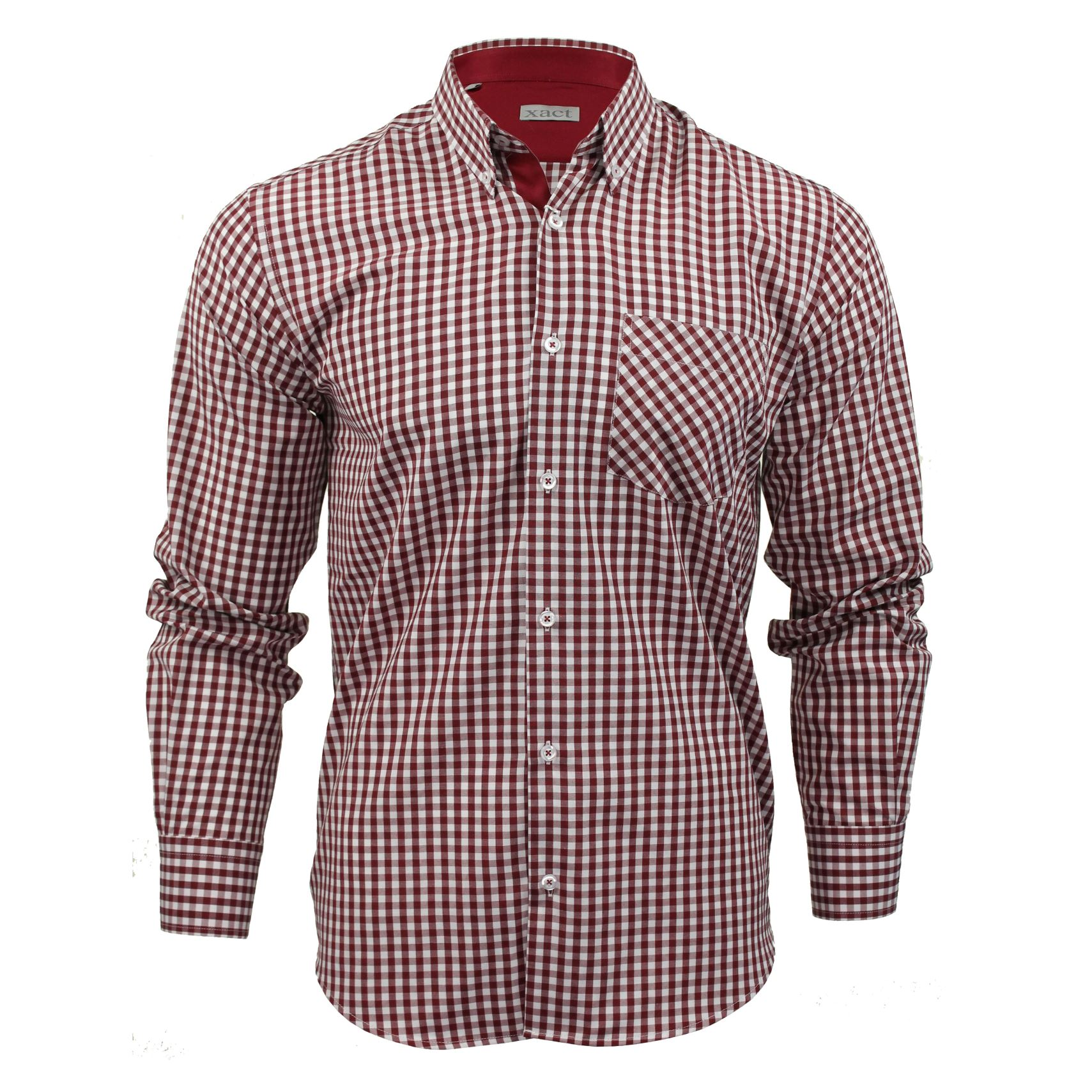 Mens long sleeve gingham check shirt button down collar for Mens button collar shirts