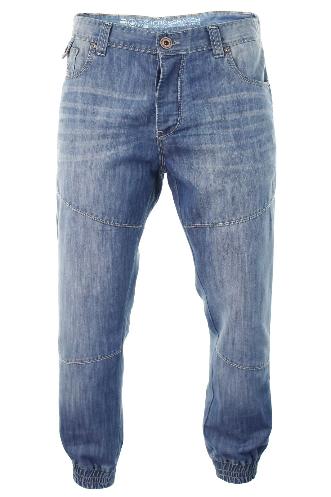 mens crosshatch 39 zenico 39 cuffed jeans raw stone washed denim button fly ebay. Black Bedroom Furniture Sets. Home Design Ideas