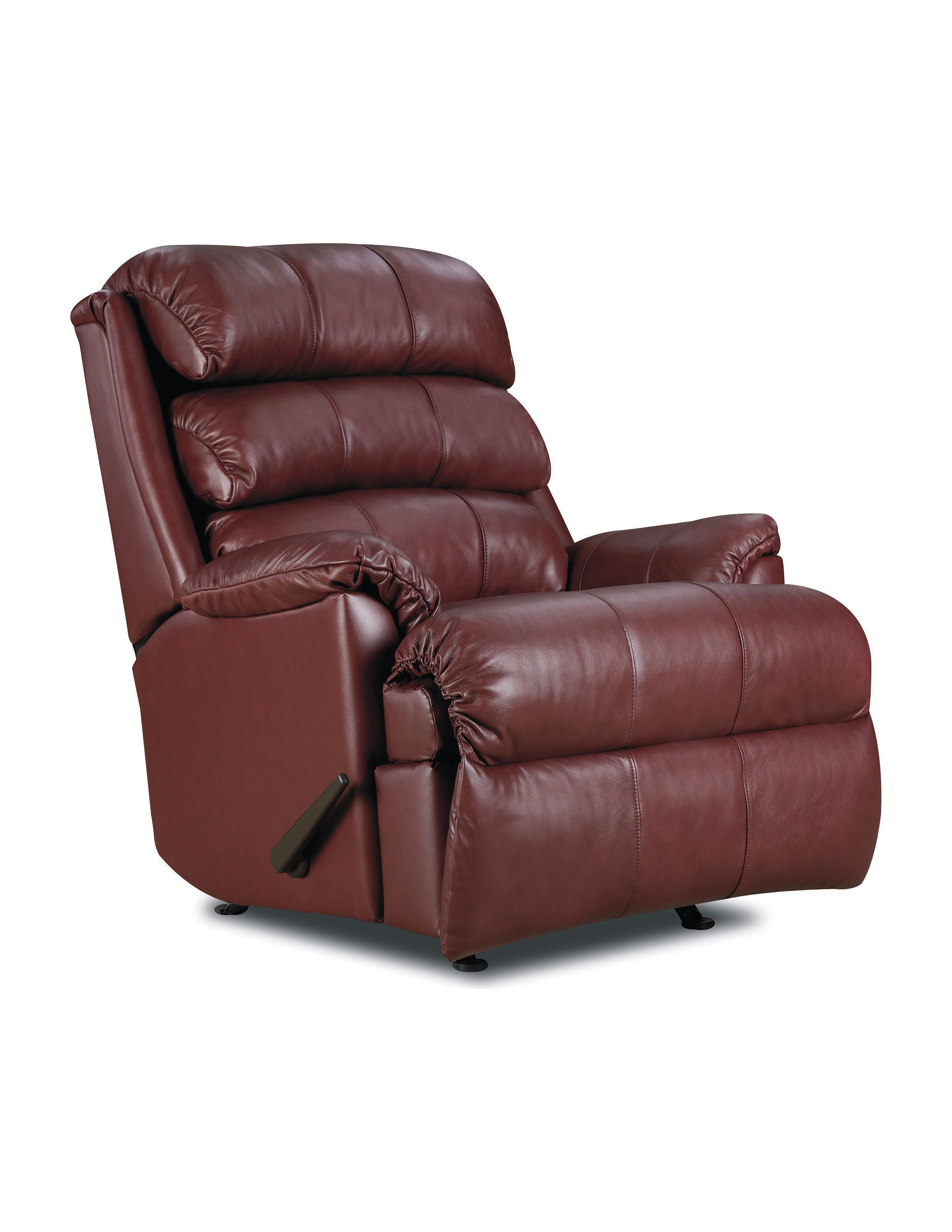 Lane furniture revive leather rocker recliner with power for Burgundy leather chaise