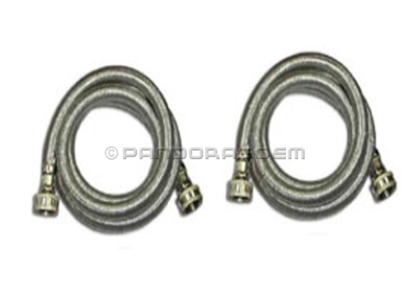 stainless steel eastman washer water hoses 5 feet braided 2 pack steel flex ebay. Black Bedroom Furniture Sets. Home Design Ideas
