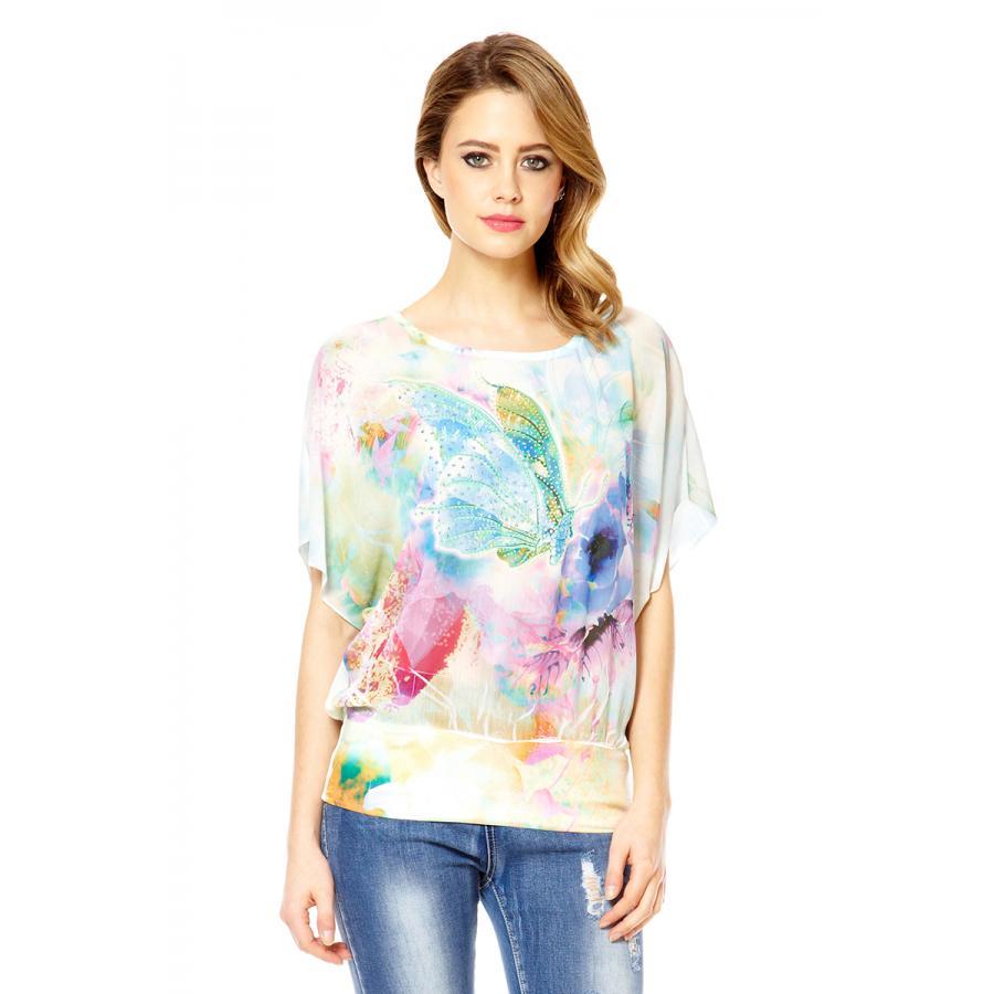 Quiz Women 39 S Mint Chiffon Butterfly Print Lace Back Top Ebay