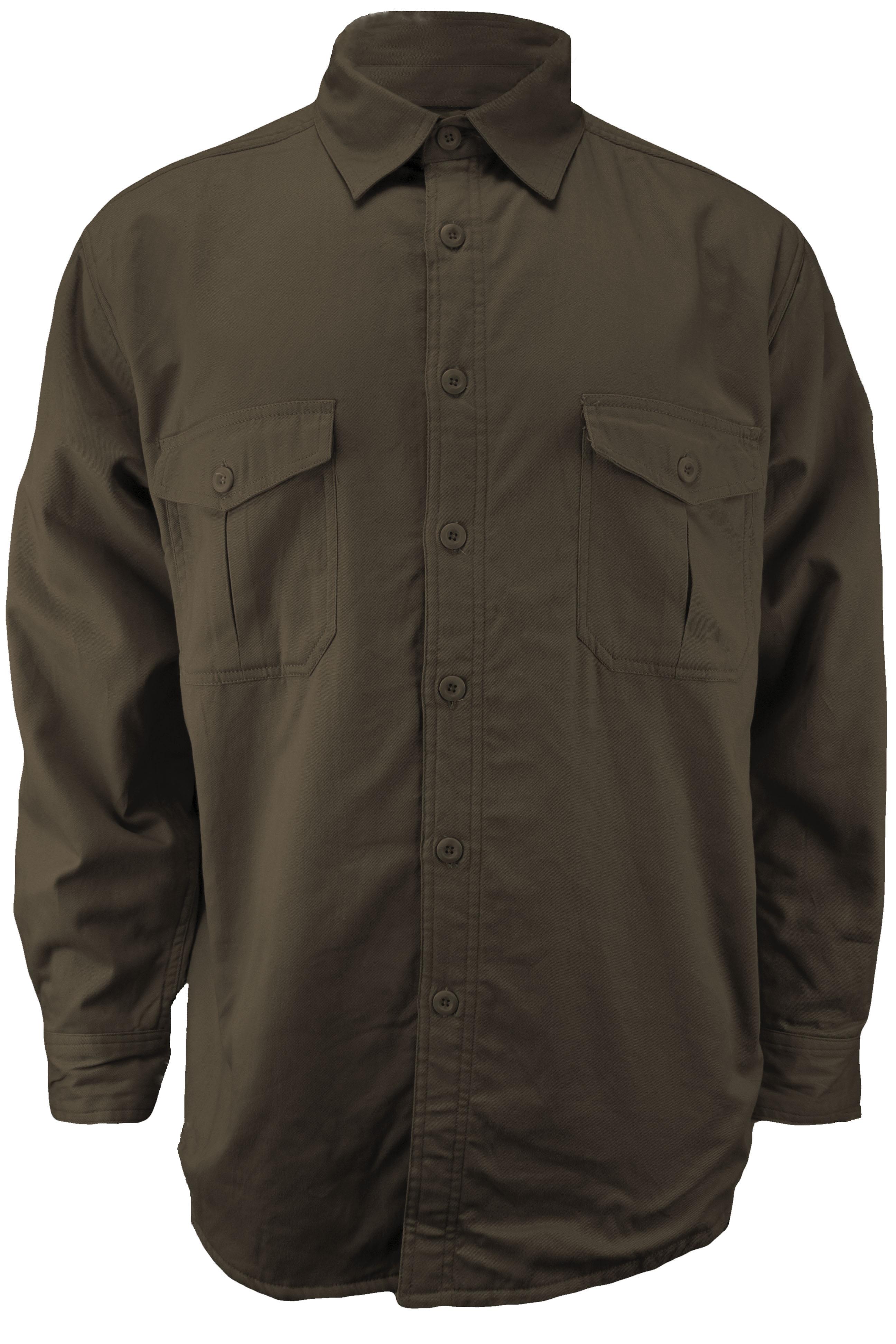 Mens Micro Fleece Lined Button Up Canvas Shirt Ebay