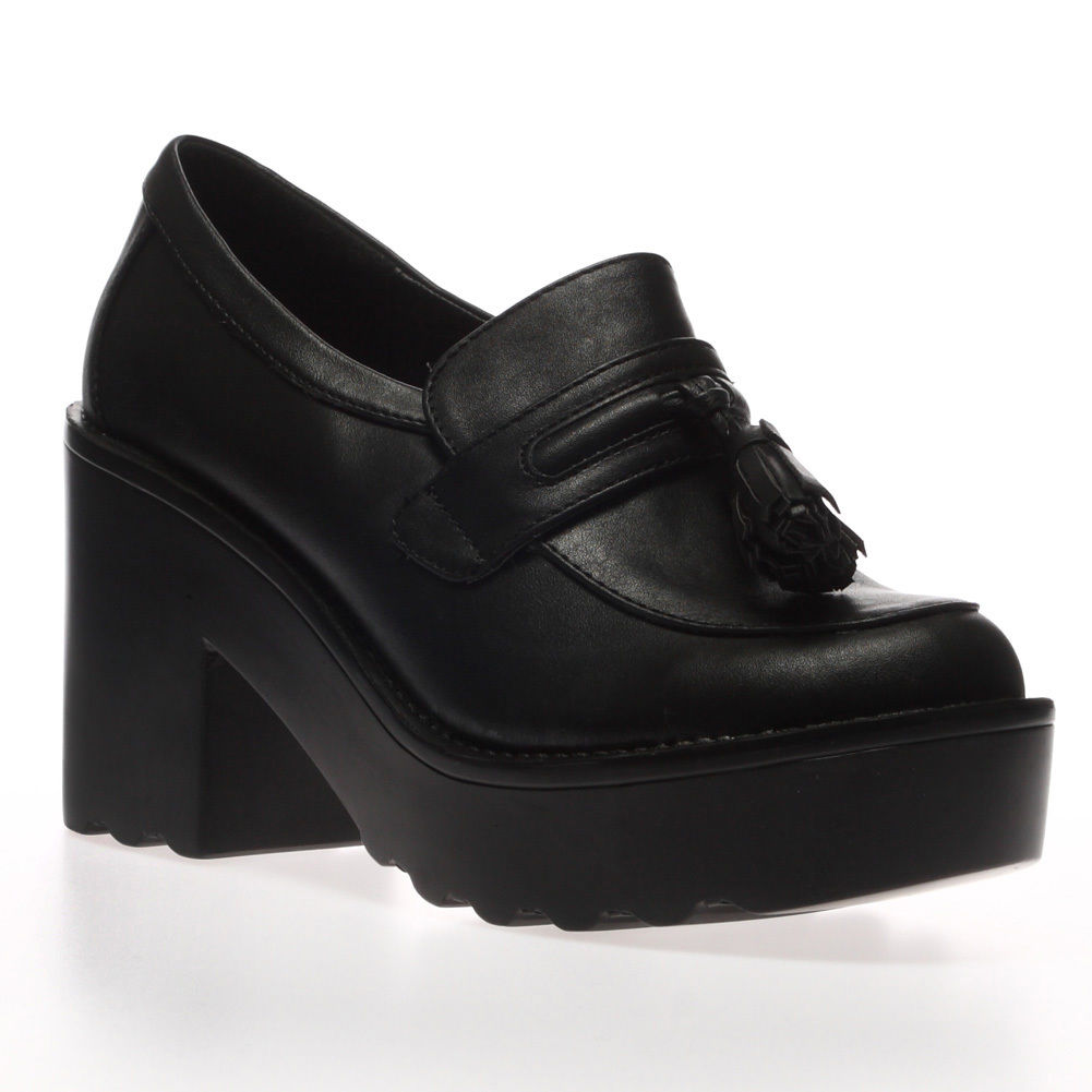 Ladies-Women-Retro-Chunky-Cleated-Platform-Sole-Loafers-Boots-Shoes-Size