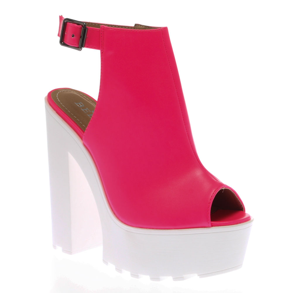Ladies-Womens-Cutouts-Cleated-Sole-High-Heel-Chunky-Platform-Sandals-Shoes-Size