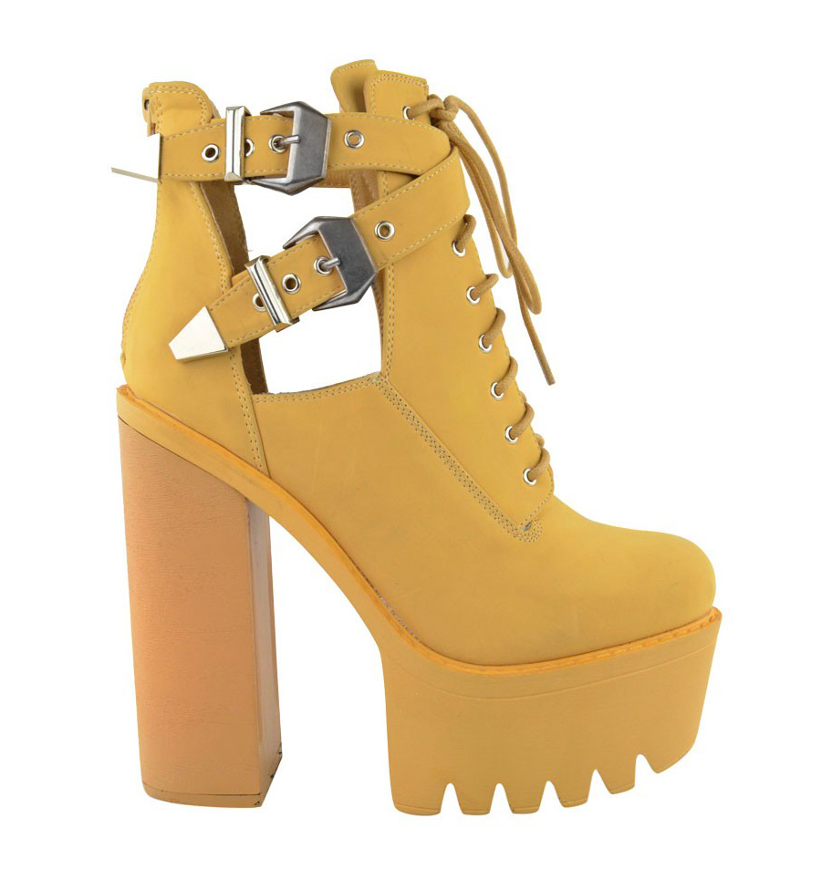 New Ladies Women High Heel Chunky Cleated Sole Platform Lace Up Boots Shoes Size