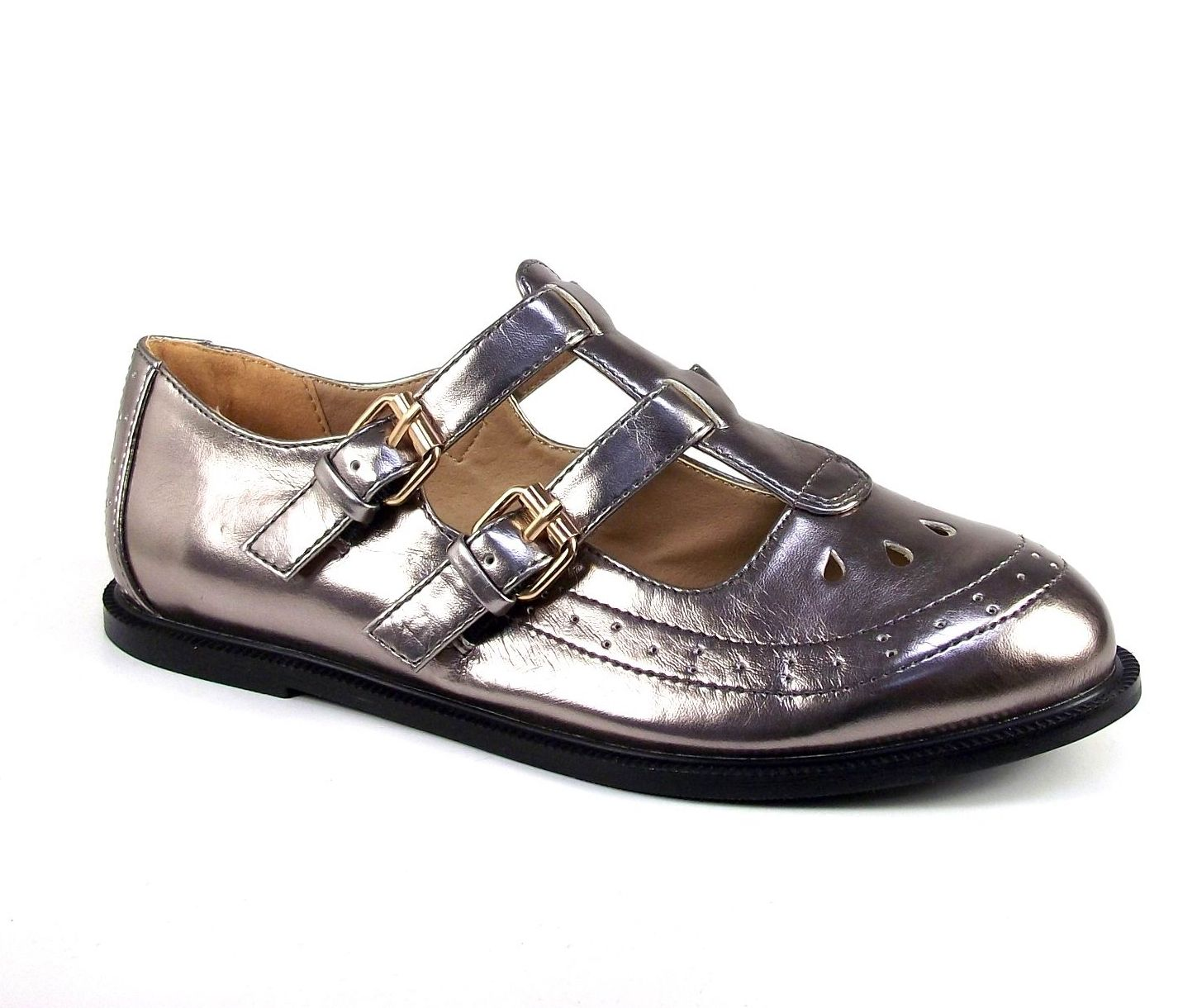 Ladies-Women-Girls-Gold-Buckle-T-Bar-Geek-Cut-Out-School-Office-Pumps-Shoes-Size