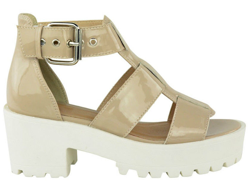 Ladies women gladiator chunky cleated sole strappy sandals for Onorevoli donne