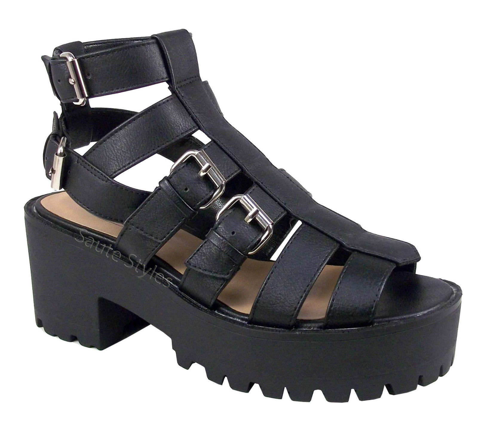 Ladies-Womens-Cut-Out-Gladiator-Chunky-Heel-Strappy-Platform-Sandals-Shoes-Size
