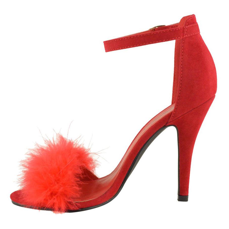 La s Womens High Heel Peep Open Fluffy Toe Ankle Strap Sandals