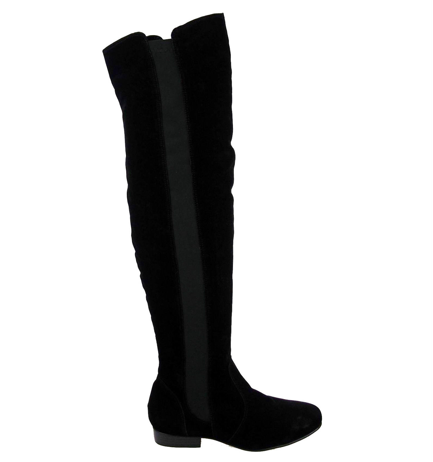 LADIES WOMENS THIGH HIGH STRETCH CALF FLAT BOOTS WIDE LEG OVER ...