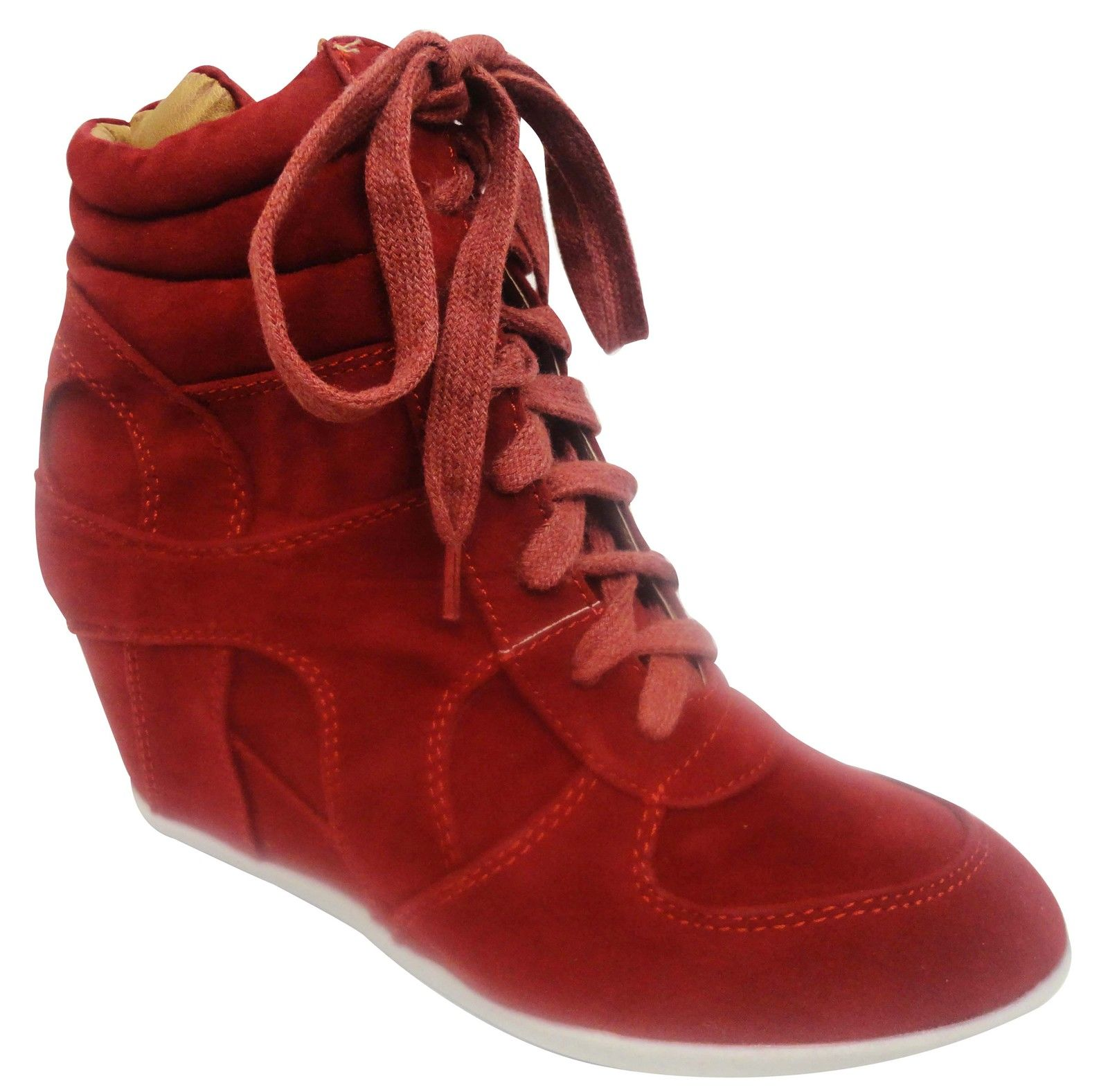Ladies-Lace-Up-Hi-Top-Hidden-Wedge-Ankle-Trainer-Shoes-Women-Sneaker-Salt-Pepper