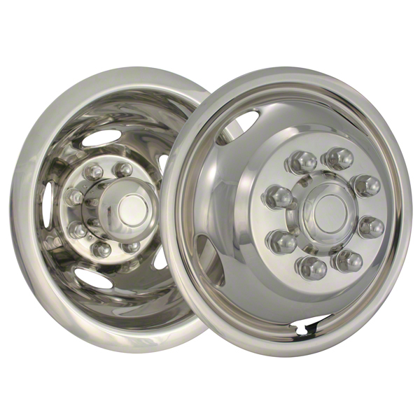 17 Inch Polished Stainless Steel, Push On, 8 Lug, 5 Hand Hold Wheel Simulators - (Set Of 4)