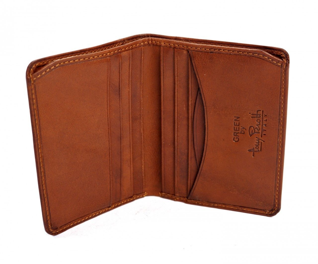 Tony Perotti Leather Front Pocket Credit Card Wallet In Cognac Ebay