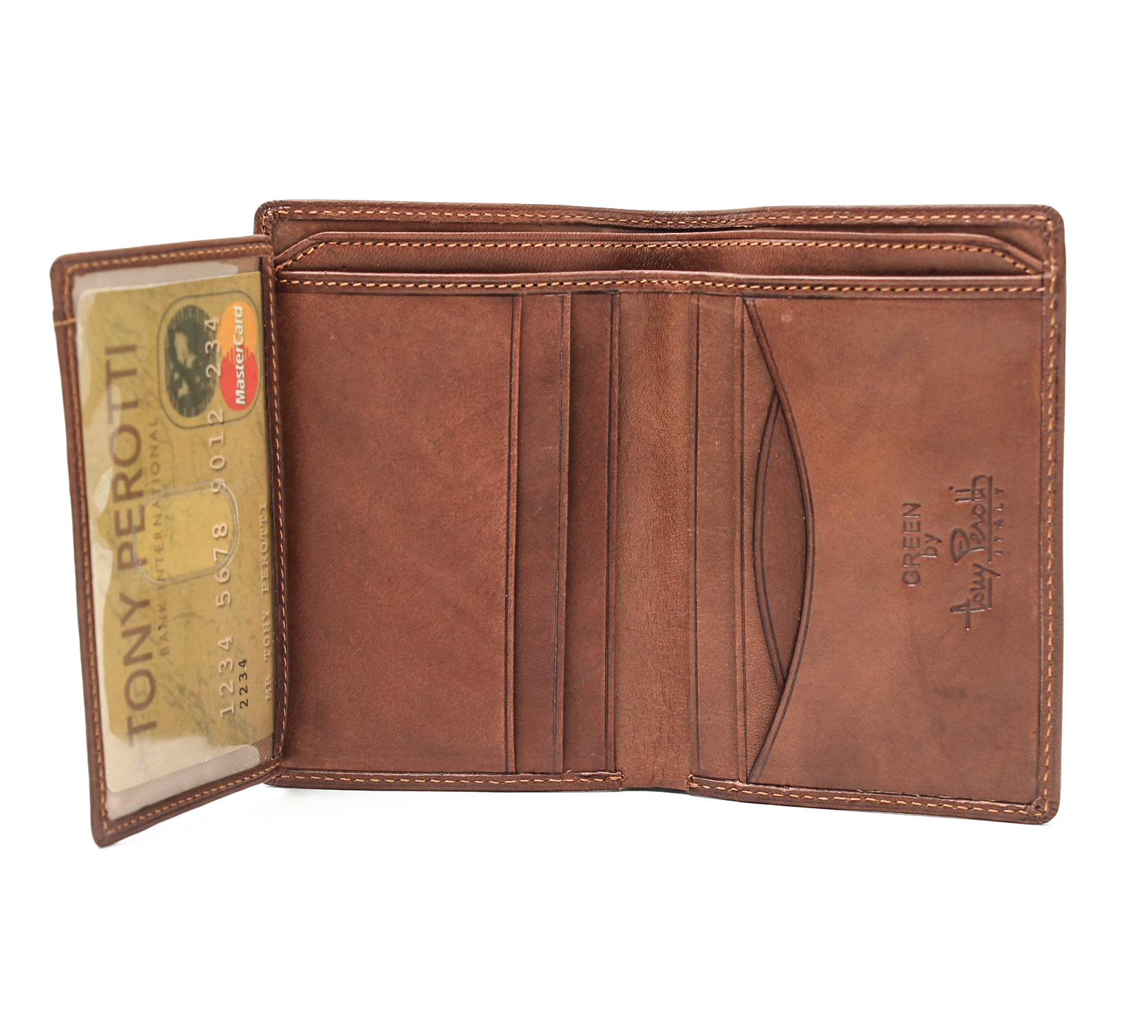 Tony Perotti Italian Leather Front Pocket Vertical Bifold