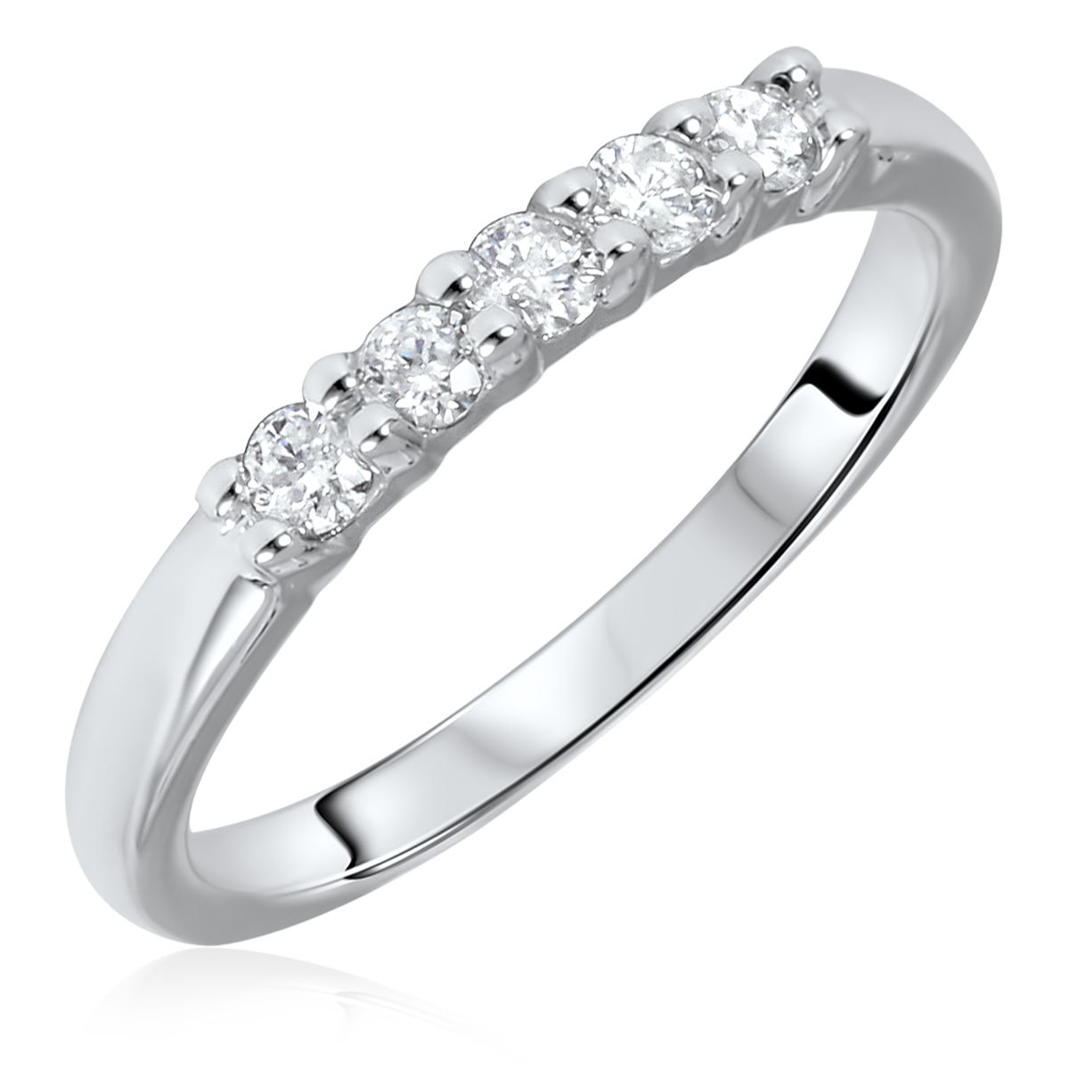 1/4 Carat T.W. Round Cut 5 Stone Diamond Anniversary Ladies Band 14K White Gold-