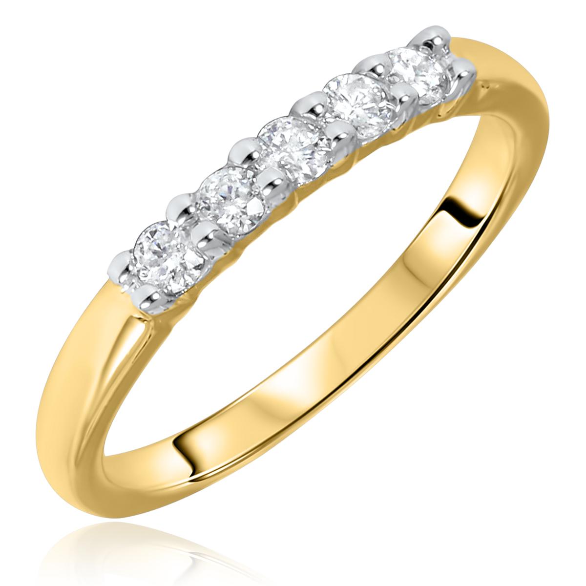 1/4 Carat T.W. Round Cut 5 Stone Diamond Anniversary Ladies Band 14K Yellow