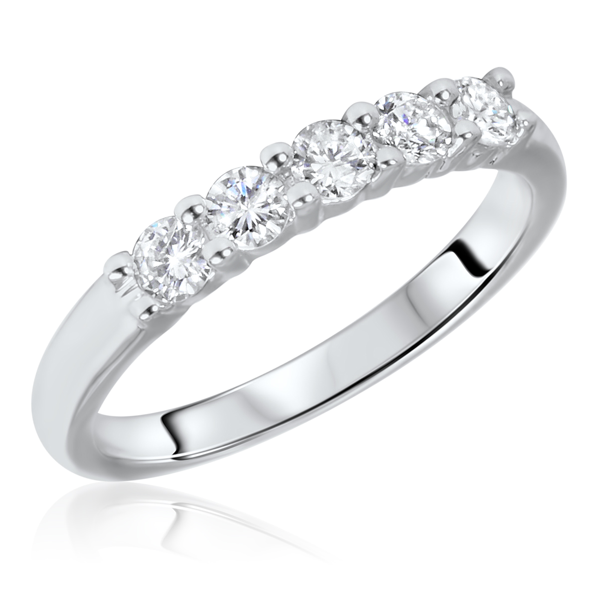 1/2 CT. T.W. Round Cut 5 Stone Diamond Anniversary Ladies Band 14K White Gold-