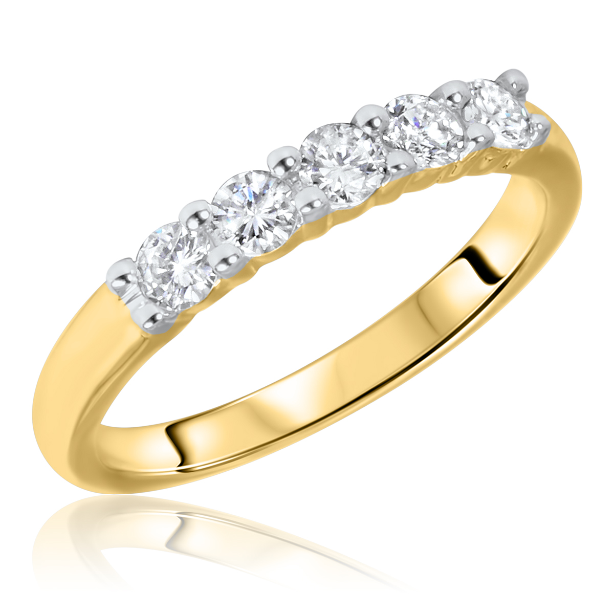 1/2 CT. T.W. Round Cut 5 Stone Diamond Anniversary Ladies Band 14K Yellow Gold-