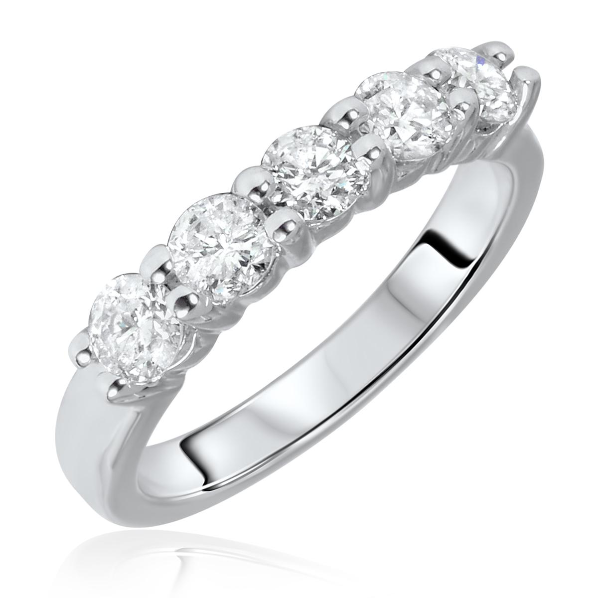 1 CT. T.W. Round Cut 5 Stone Diamond Anniversary Ladies Band 14K White Gold-