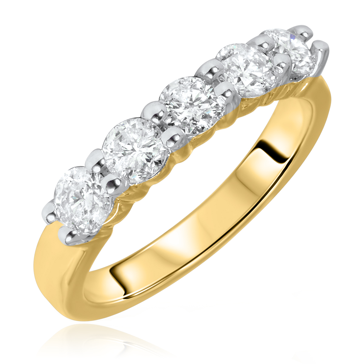 1 CT. T.W. Round Cut 5 Stone Diamond Anniversary Ladies Band 14K Yellow Gold-