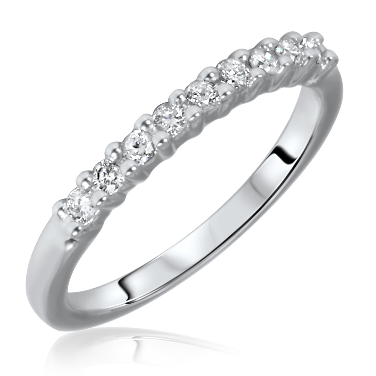 1/4 Carat T.W. Round Cut 9 Stone Diamond Anniversary Ladies Band 14K White Gold-