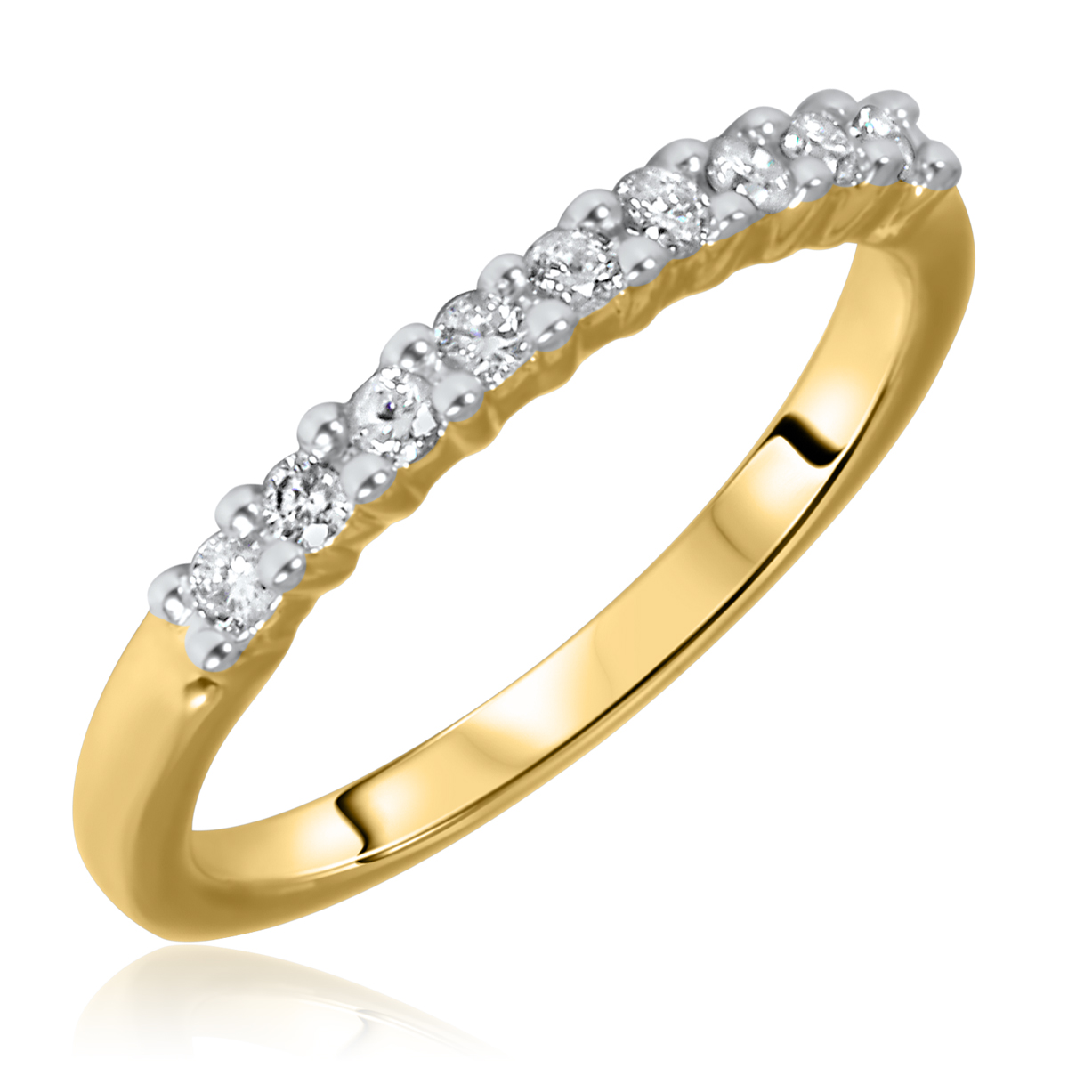1/4 Carat T.W. Round Cut 9 Stone Diamond Anniversary Ladies Band 14K Yellow