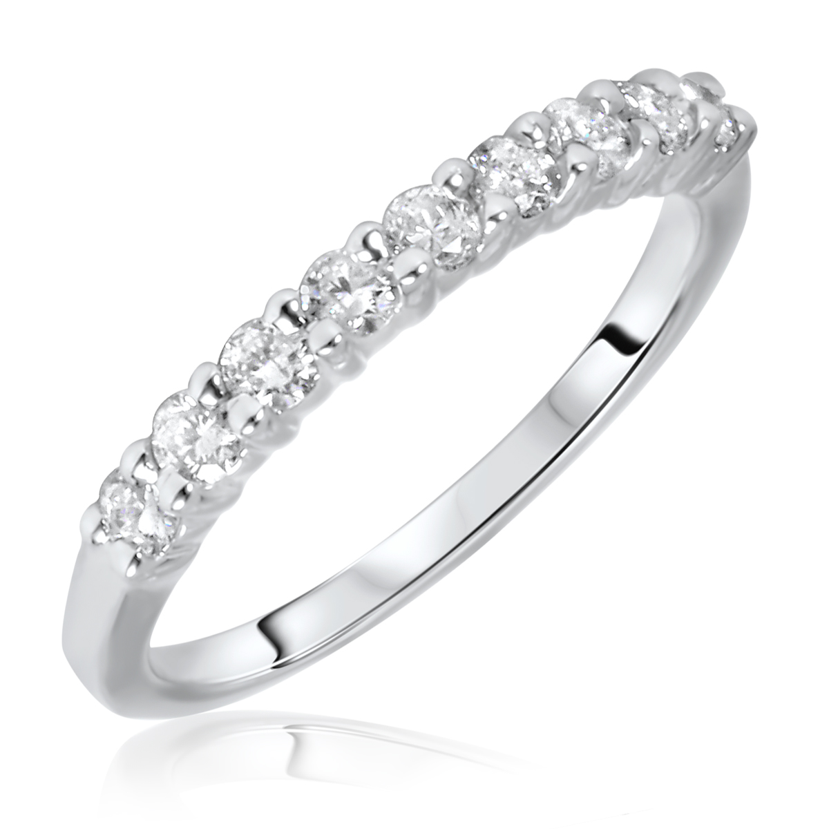 1/2 Carat T.W. Round Cut 9 Stone Diamond Anniversary Ladies Band 14K White Gold-
