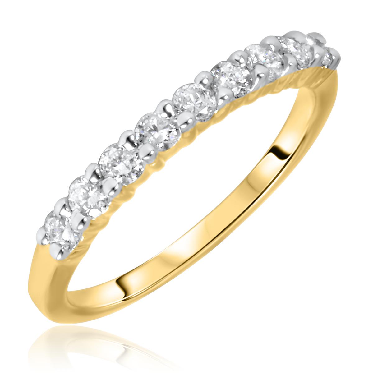 1/2 Carat T.W. Round Cut 9 Stone Diamond Anniversary Ladies Band 14K Yellow