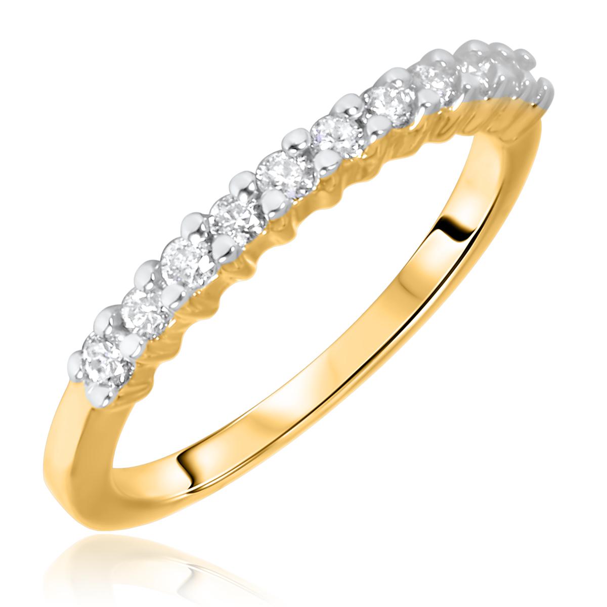 1/3 Carat T.W. Round Cut 11 Stone Diamond Anniversary Ladies Band 14K Yellow