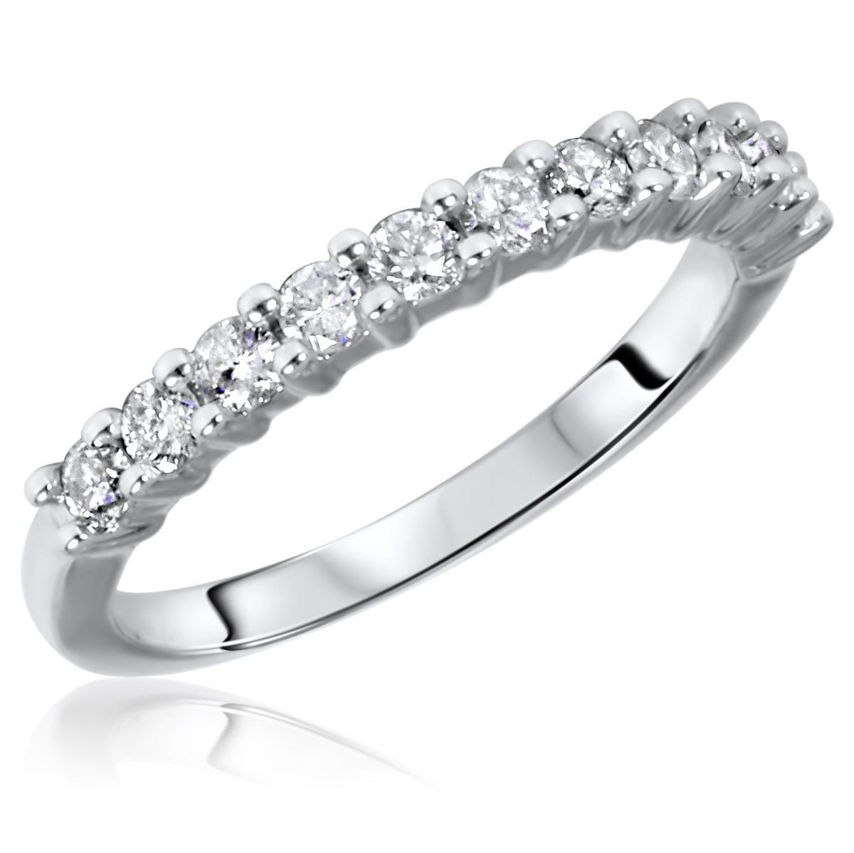 1/2 Carat T.W. Round Cut 11 Stone Diamond Anniversary Ladies Band 14K White