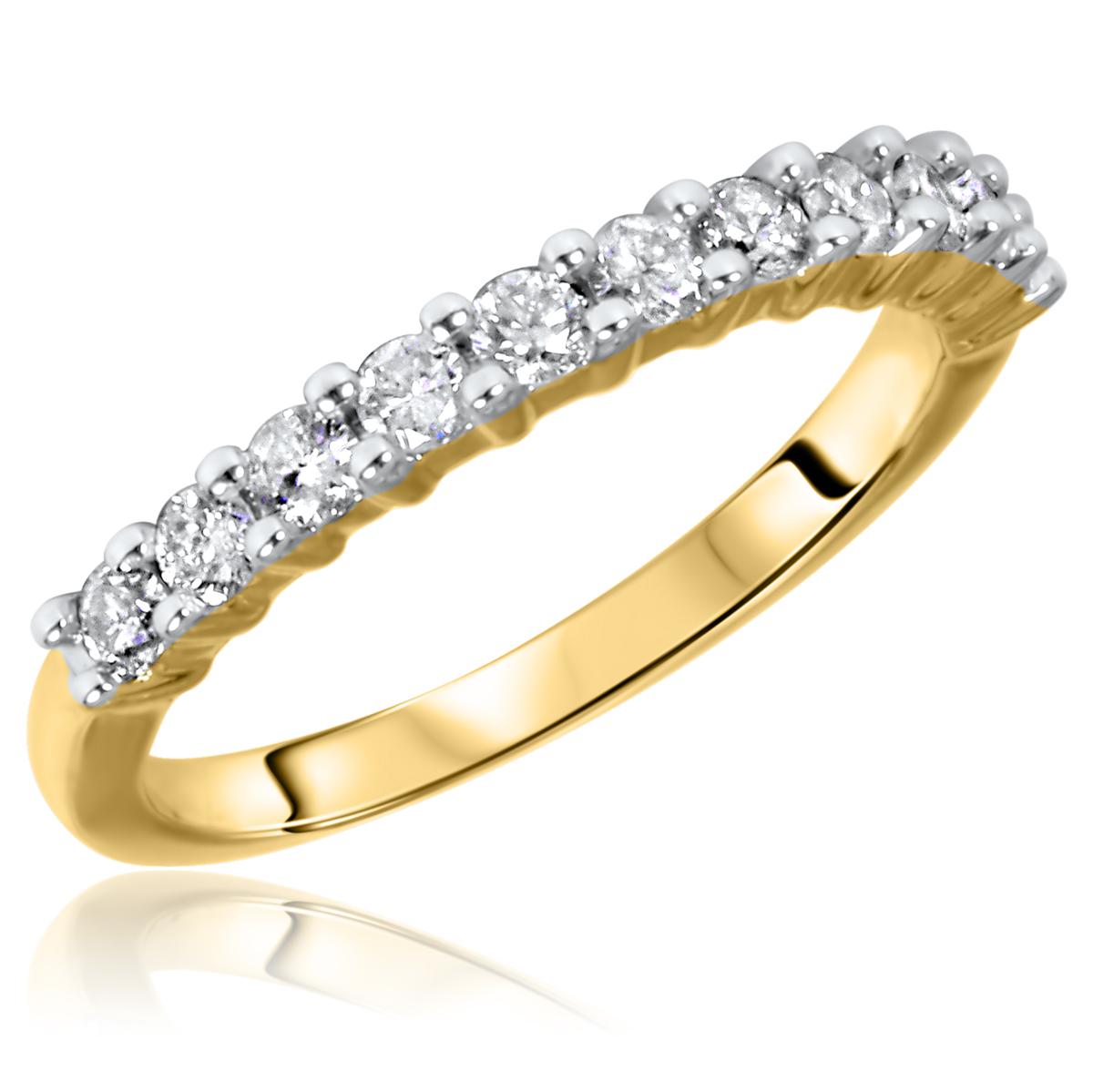 1/2 Carat T.W. Round Cut 11 Stone Diamond Anniversary Ladies Band 14K Yellow